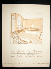 Gazette du Bon Ton 1920 Art Deco Interior Design Litho. #41